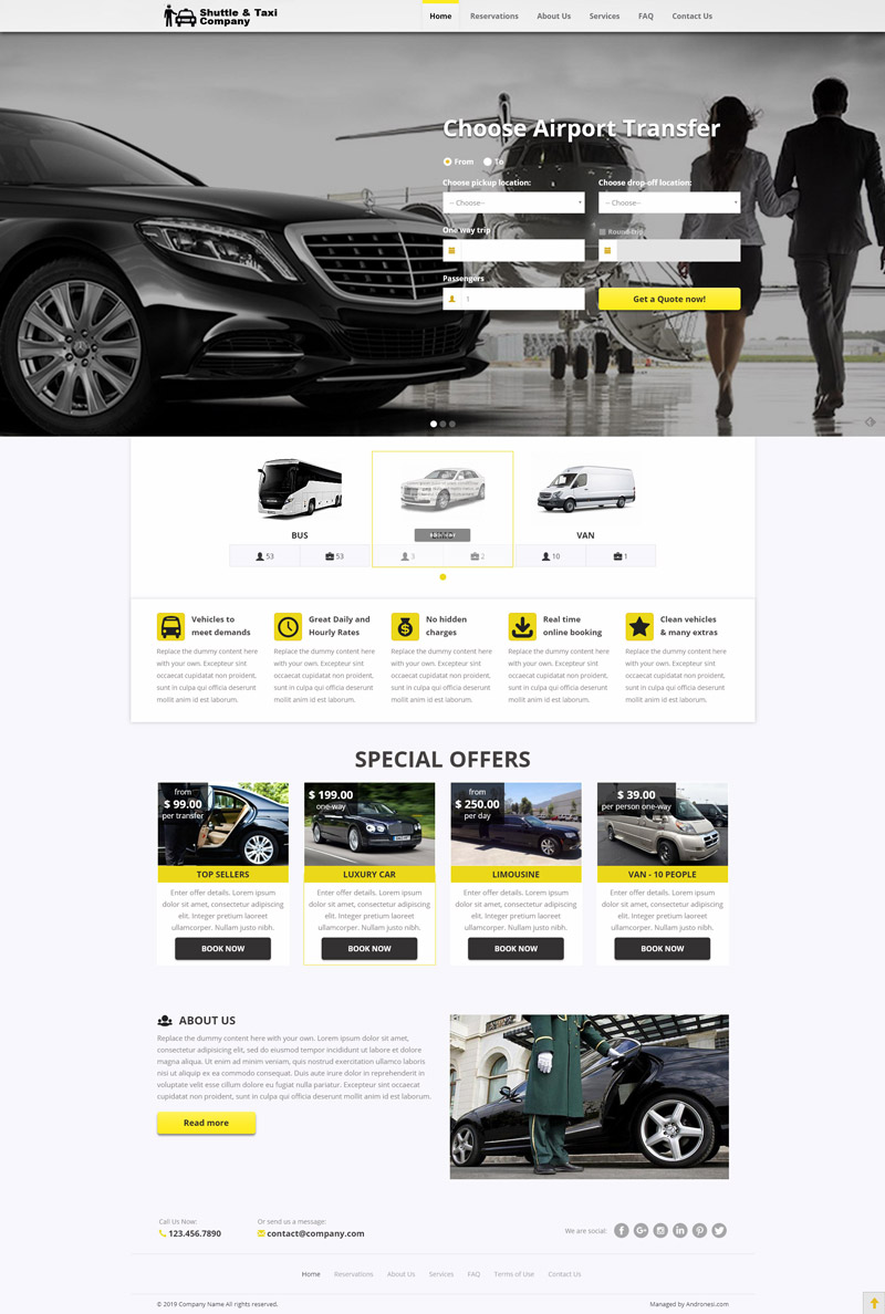 Airport Transfers Website Template 1
