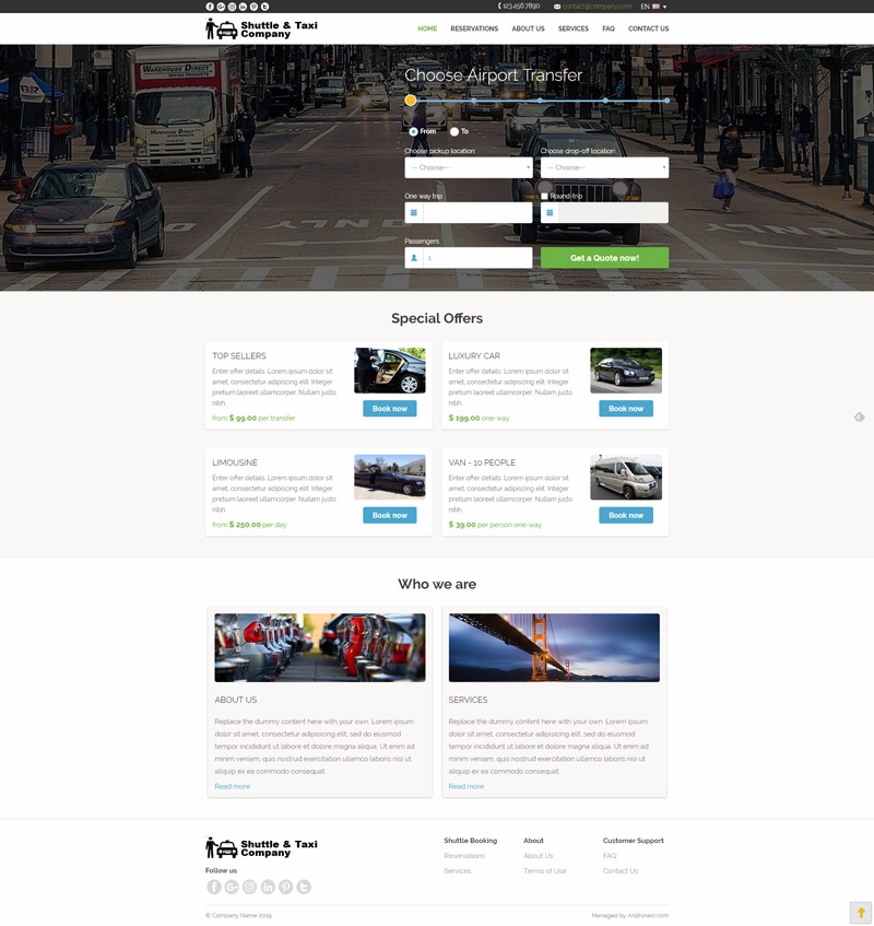 Airport Transfers Website Template 2